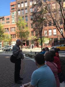 Dennis McClendon discussing Printers' Row