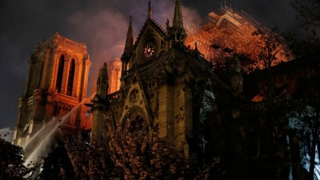 Philippe Wojazer / ReutersSparks fill the air as Paris Fire brigade members spray water to extinguish flames as the Notre Dame Cathedral burns in Paris, France, April 15, 2019.